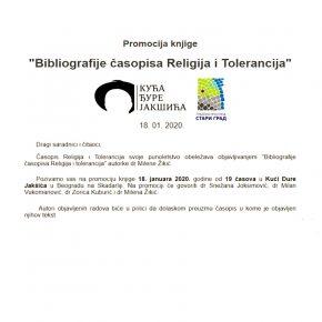 Библиографије часописа Религија и Толеранција